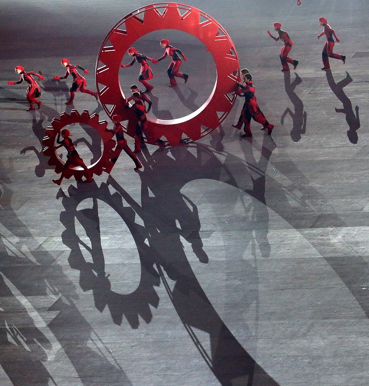 . Artists perform during the opening ceremony of the 2014 Winter Olympics in Sochi, Russia, Friday, Feb. 7, 2014. (AP Photo/Charlie Riedel)
