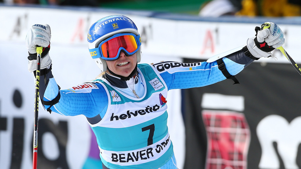 . Sweden\'s Jessica Lindell-Vikarby raises her arms after crossing the finish line to win the women\'s World Cup giant slalom skiing event, in Beaver Creek, Colo., Sunday, Dec. 1, 2013. (AP Photo/Alessandro Trovati)