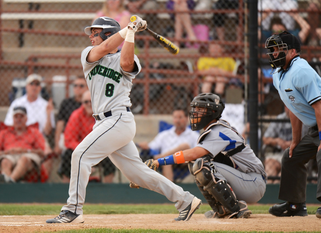 . DENVER, CO. - MAY 24 :Jake Hand of ThunderRidge High School (8) doubles in the 7th inning of semifinal round of 5A State Championships baseball game against Cherry Creek High School at All City Field. Denver, Colorado. May 24, 2013. ThunderRidge won 5-1. (Photo By Hyoung Chang/The Denver Post)