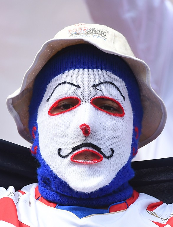 . A Costa Rica fan is pictured before the start of a Group D match between Italy and Costa Rica at the Pernambuco Arena in Recife during the 2014 FIFA World Cup on June 20, 2014.   AFP PHOTO / EMMANUEL  DUNAND/AFP/Getty Images