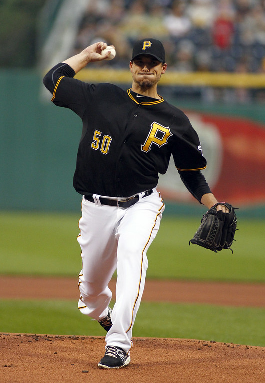 . PITTSBURGH, PA - JULY 19: Charlie Morton #50 of the Pittsburgh Pirates pitches in the first inning against the Colorado Rockies during the game at PNC Park July 19, 2014 in Pittsburgh, Pennsylvania. (Photo by Justin K. Aller/Getty Images)
