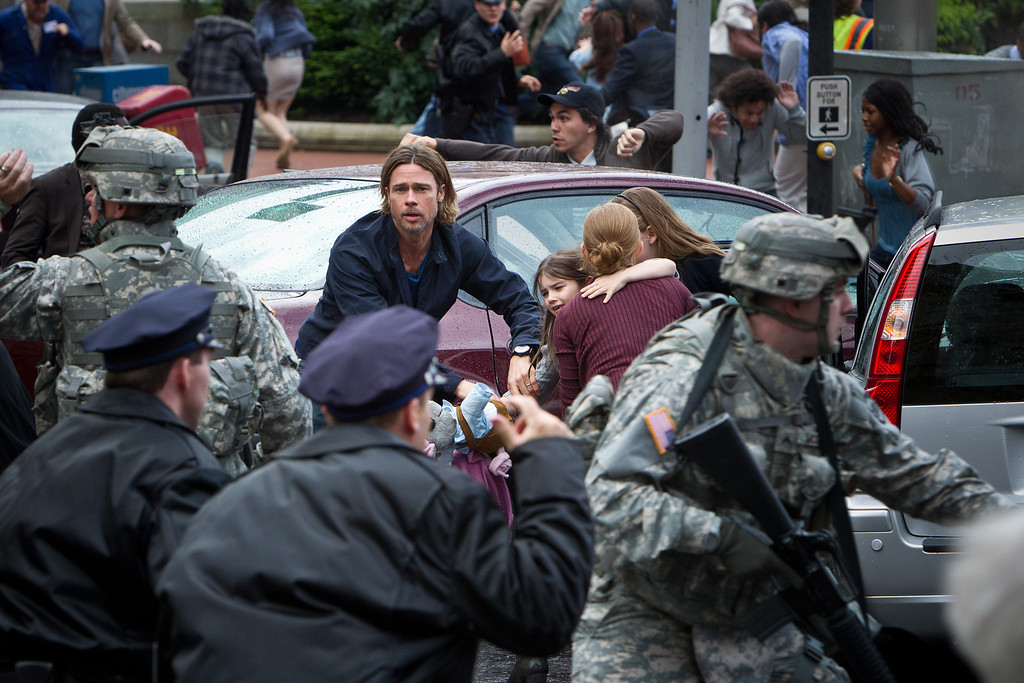 ". In ""World War Z,\"" Brad Pitt plays a U.N. worker trying to track the origins of an infection that kills humans then reanimated them as fleet, swarming zombies.Provided by Provided by Paramount Pictures."