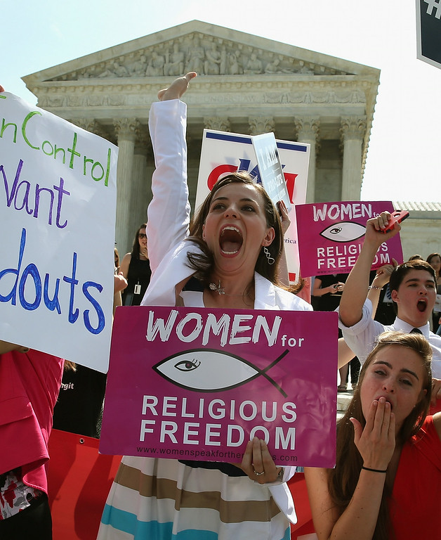 . Hobby Lobby supporter Arina Grossu reacts to the U.S. Supreme Court decision, June 30, 2014 in Washington, DC.   (Photo by Mark Wilson/Getty Images)