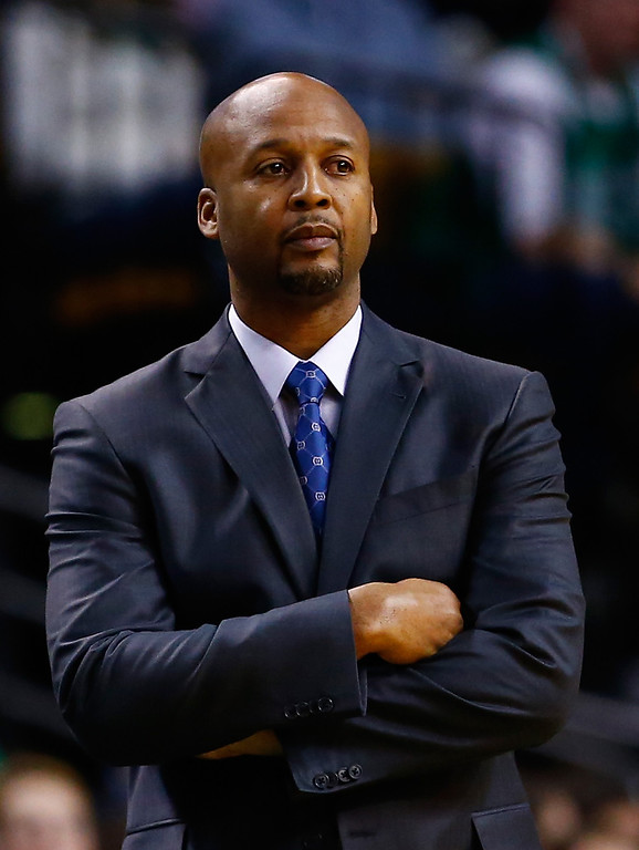 . BOSTON, MA - DECEMBER 06: Head coach Brian Shaw of the Denver Nuggets looks on during the game against the Boston Celtics at TD Garden on December 6, 2013 in Boston, Massachusetts.  (Photo by Jared Wickerham/Getty Images)