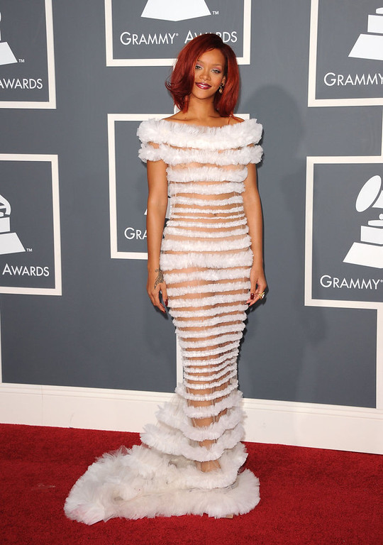 . Singer Rihanna arrives at The 53rd Annual GRAMMY Awards held at Staples Center on February 13, 2011 in Los Angeles, California.  (Photo by Jason Merritt/Getty Images)