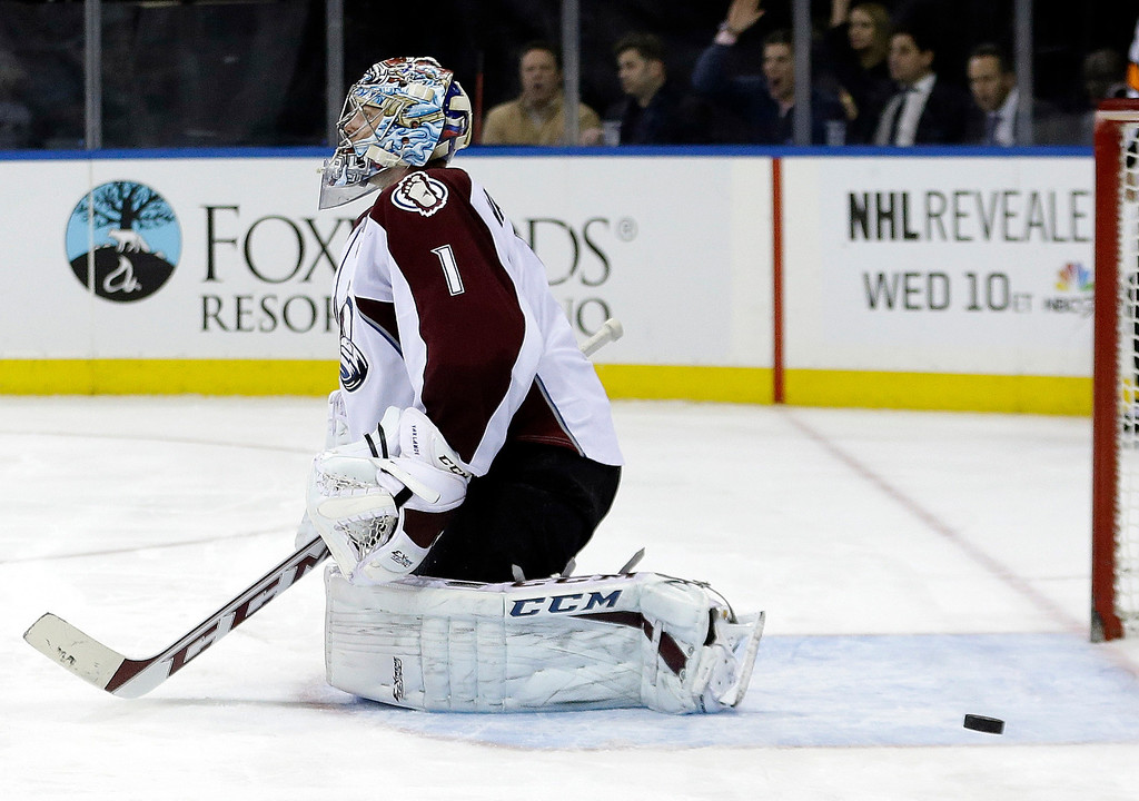 . Colorado Avalanche\'s Semyon Varlamov (1) reacts after New York Rangers\' Anton Stralman scored during the second period of an NHL hockey game, Tuesday, Feb. 4, 2014, in New York. (AP Photo/Frank Franklin II)