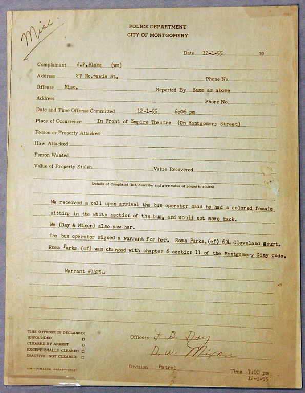 . Rosa Parks\' original Montgomery police department report from her 1955 arrest, charged with refusing to obey the order of a bus driver to give up her seat to a white passenger, is pictured at the National Archives Southeast Region in Morrow, Ga.,  Friday Oct. 28, 2005.  (AP Photo/John Amis)