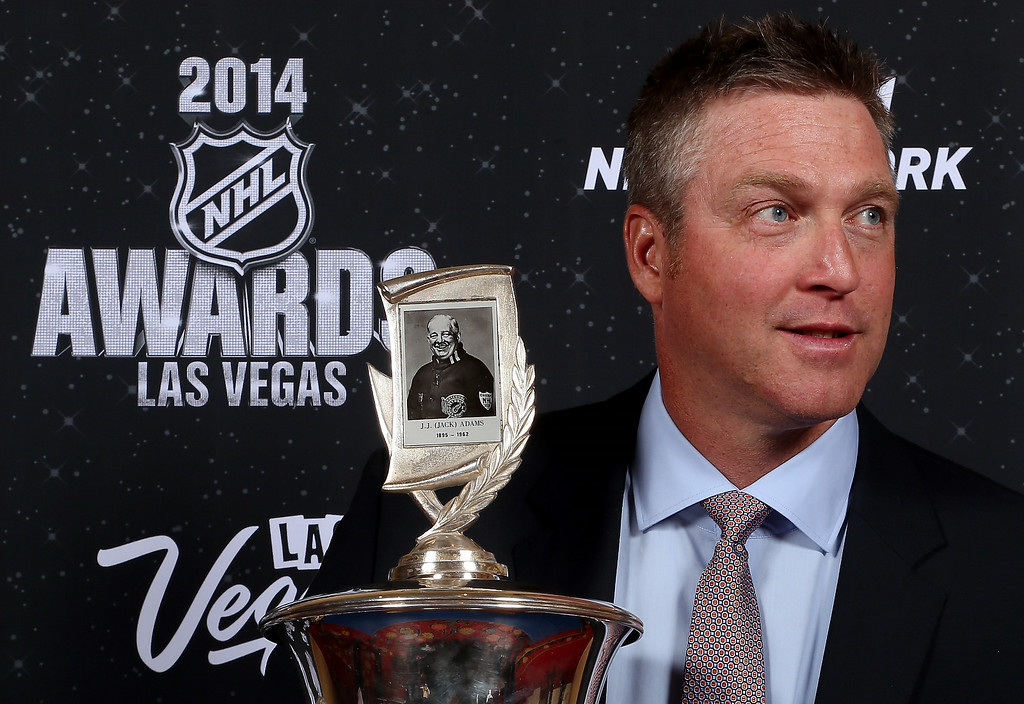 . Patrick Roy of the Colorado Avalanche poses after winning the Jack Adams Award during the 2014 NHL Awards at the Encore Theater at Wynn Las Vegas on June 24, 2014 in Las Vegas, Nevada.  (Photo by Bruce Bennett/Getty Images)