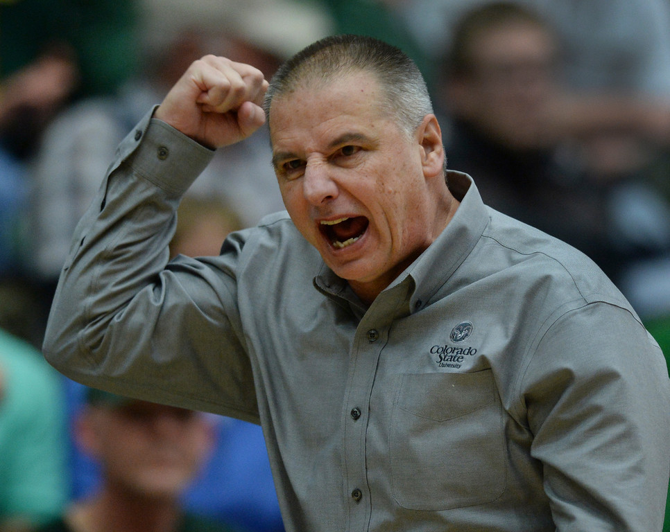 . FORT COLLINS, CO. - JANUARY 18:  CSU coach Larry Eustachy reacted to a foul in the last minute of the game. The Colorado State men\'s basketball team defeated Air Force 74-68 at Moby Arena in Fort Collins Saturday night, January 18, 2014. Photo By Karl Gehring/The Denver Post