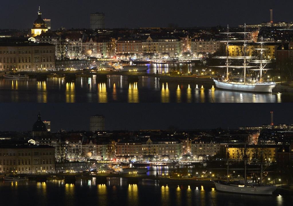 . This combo of two photos shows the hostel ship Af Chapman (R) before and during Earth Hour in Stockholm, Sweden on March 23, 2013. Millions of people were expected to switch off their lights for Earth Hour in a global effort to raise awareness about climate change. Since it began in Sydney in 2007, Earth Hour has grown to become what environmental group WWF says is the world\'s largest demonstration of support for action on carbon pollution.  AFP PHOTO /  SCANPIX SWEDEN / JOHAN NILSSON