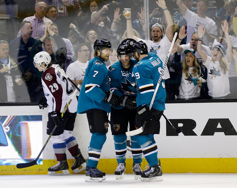 . San Jose Sharks\' Patrick Marleau, center, celebrates his goal with teammates Brad Stuart (7), and Martin Havlat (9), of the Czech Republic, during the first period of an NHL hockey game against the Colorado Avalanche on Friday, April 11, 2014, in San Jose, Calif. (AP Photo/Marcio Jose Sanchez)