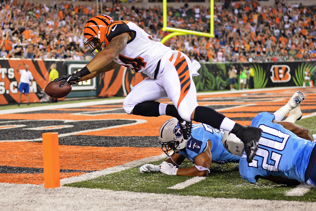. CINCINNATI, OH - AUGUST 17:  Dan Herron #34 of the Cincinnati Bengals leaps in to the end zone to complete a 40-yard touchdown run past Al Afalava #38 of the Tennessee Titans and Alterraun Verner #20 of the Tennessee Titans in the fourth quarter at Paul Brown Stadium on August 17, 2013 in Cincinnati, Ohio. Cincinnati defeated Tennessee 24-19.  (Photo by Jamie Sabau/Getty Images)