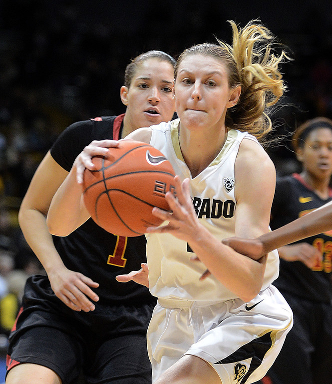 . Lexy Kresl of Colorado drives on Jordan Adams of USC   during the first half of the March 2, 2014 game in Boulder, Colo. (Class Grassmick/Daily Camera)