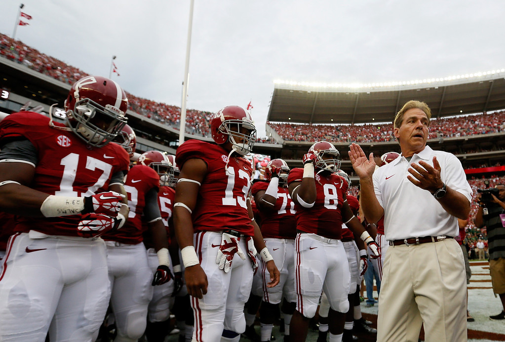 . TUSCALOOSA, AL - SEPTEMBER 21:  Head coach Nick Saban of the Alabama Crimson Tide prepares to lead his team onto the field to face the Colorado State Rams at Bryant-Denny Stadium on September 21, 2013 in Tuscaloosa, Alabama.  (Photo by Kevin C. Cox/Getty Images)