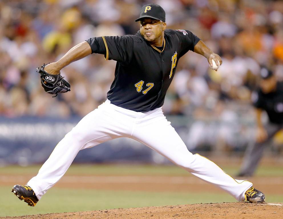 . Pittsburgh Pirates starting pitcher Francisco Liriano throws against the Colorado Rockies in the sixth inning of the baseball game on Saturday, Aug. 3, 2013, in Pittsburgh. Liriano pitched 7 innings in the game. (AP Photo/Keith Srakocic)