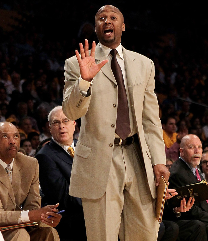 . Assistant coach Brian Shaw of the Los Angeles Lakers gives instructions against the Oklahoma City Thunder during Game One of the Western Conference Quarterfinals of the 2010 NBA Playoffs. Shaw was named head coach of the Denver Nuggets on Monday, June 24, 2013.  (Photo by Stephen Dunn/Getty Images)