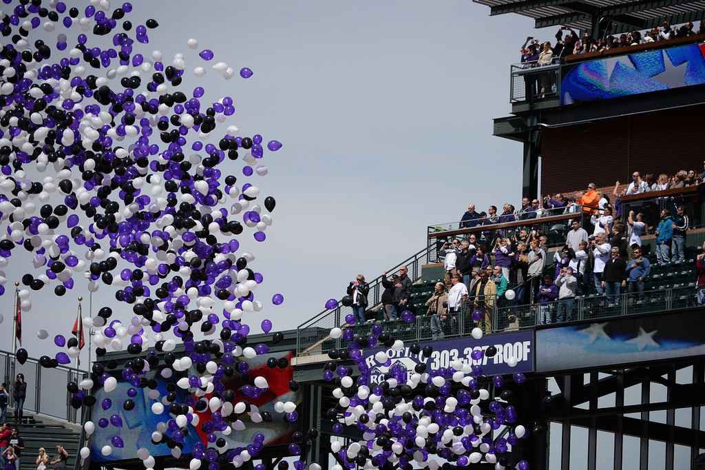. Balloons were released during the opening ceremonies before the game.  (Photo by Hyoung Chang/The Denver Post)