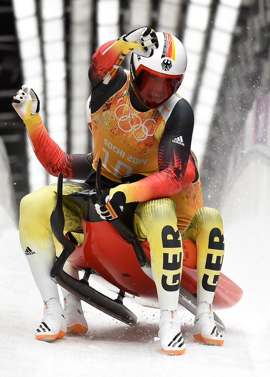 . Germany\'s doubles Tobias Wendl and Tobias Arlt compete in the Luge Team Relay at the Sliding Center Sanki during the Sochi Winter Olympics on February 13, 2014. The German team won the Gold Medal.   LEON NEAL/AFP/Getty Images