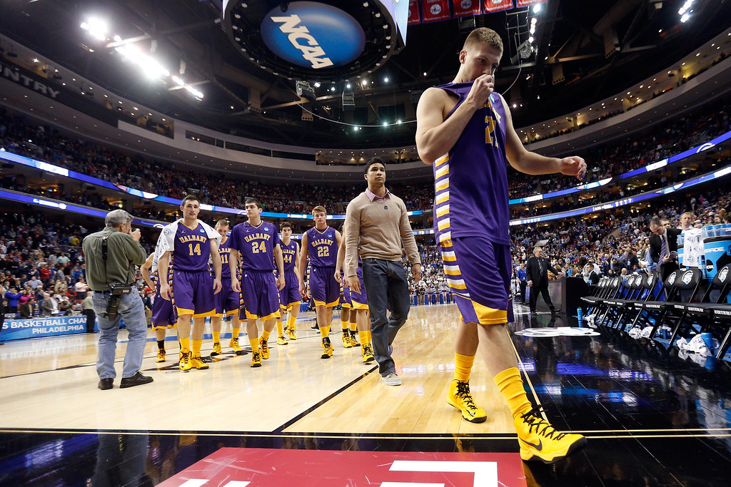 . PHILADELPHIA, PA - MARCH 22:  Blake Metcalf #21 of the Albany Great Danes walks off the court after losing to the Duke Blue Devils 73-61 in the second round of the 2013 NCAA Men\'s Basketball Tournament on March 22, 2013 at Wells Fargo Center in Philadelphia, Pennsylvania.  (Photo by Rob Carr/Getty Images)