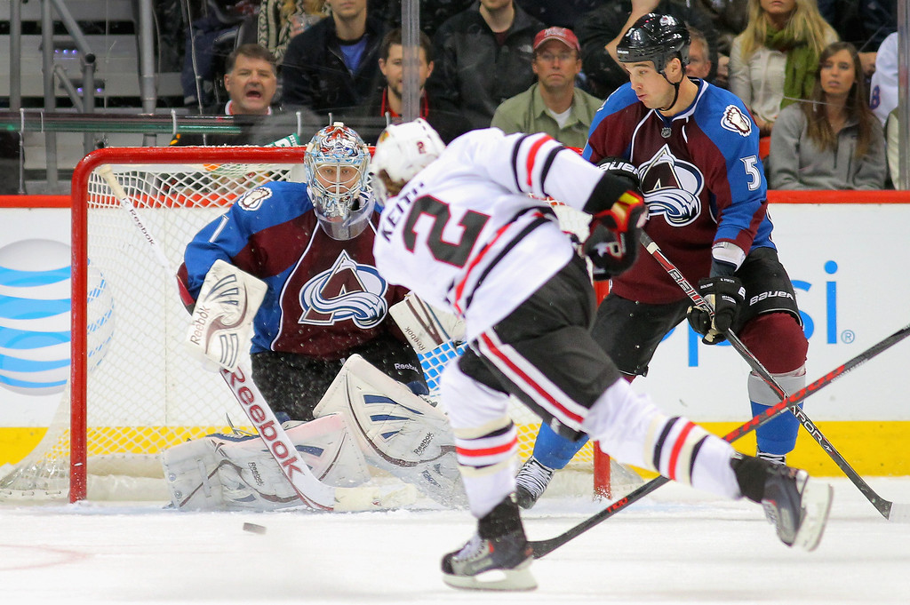 . Goalie Semyon Varlamov #1 of the Colorado Avalanche defends the goal against a shot by Duncan Keith #2 of the Chicago Blackhawks as Shane O\'Brien #5 of the Colorado Avalanche follows the play at the Pepsi Center on March 18, 2013 in Denver, Colorado.  (Photo by Doug Pensinger/Getty Images)