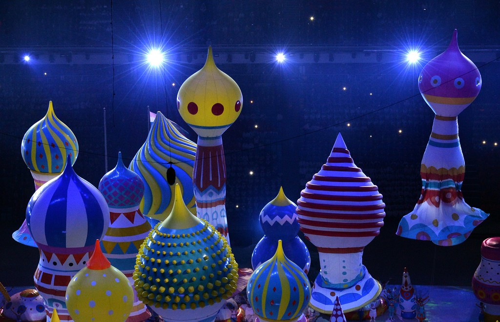 . A picture taken with a robotic camera shows dancers performing during the Opening Ceremony of the Sochi Winter Olympics at the Fisht Olympic Stadium on February 7, 2014 in Sochi.  AFP PHOTO / ANTONIN THUILLIER/AFP/Getty Images
