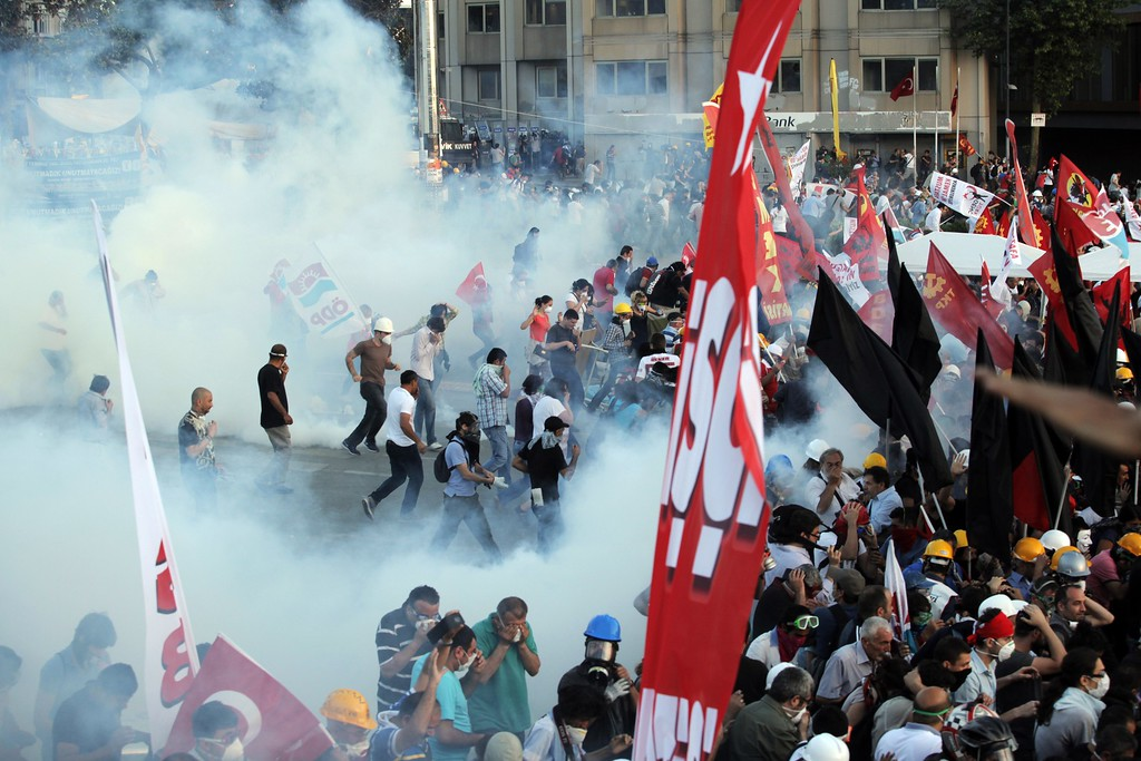 . Protesters clash with Turkish riot police on Taksim square on June 11, 2013.     AFP PHOTO / GURCAN  OZTURK/AFP/Getty Images