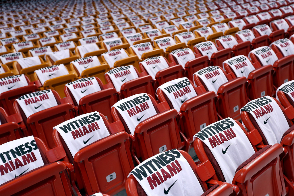 . \'Witness Miami\' t-shirts are displayed on the seats before Game One of the 2013 NBA Finals between the Miami Heat and the San Antonio Spurs at AmericanAirlines Arena on June 6, 2013 in Miami, Florida. (Photo by Christian Petersen/Getty Images)