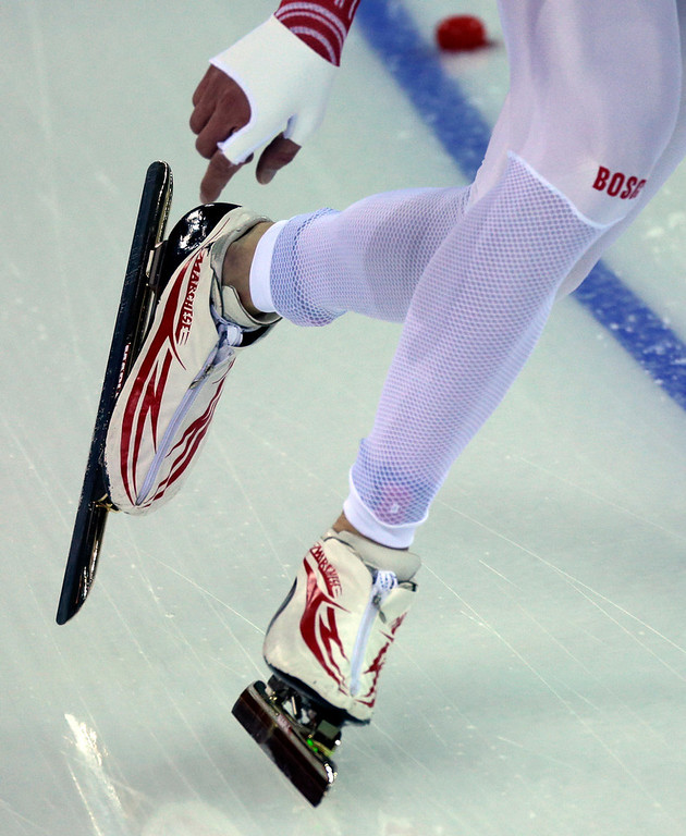 . Russia\'s Ivan Skobrev competes in the Men\'s 5,000-meter speed skating event at the 2014 Winter Olympics, Saturday, Feb. 8, 2014, in Sochi, Russia. (AP Photo/David J. Phillip )