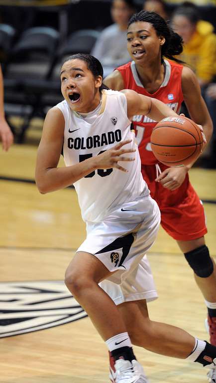 . Jamee Swan of CU drives past Bryce Owens of New Mexico on Saturday. Cliff Grassmick / December 29, 2012
