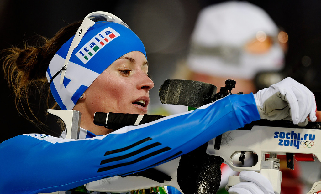 . Karin Oberhofer of Italy in action during the Mixed Relay competition at the Laura Cross Biathlon Center during the Sochi 2014 Olympic Games, Krasnaya Polyana, Russia, 19 February 2014.  EPA/VALDRIN XHEMAJ