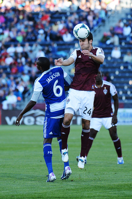 . COMMERCE CITY, CO. - June 01: Nathan Sturgis of Colorado Rapids (24) header over Jackson of FC Dallas (6) in the First half of the game at Dick\'s Sporting Goods Park. Commerce City, Colorado. June 1, 2013. (Photo By Hyoung Chang/The Denver Post)