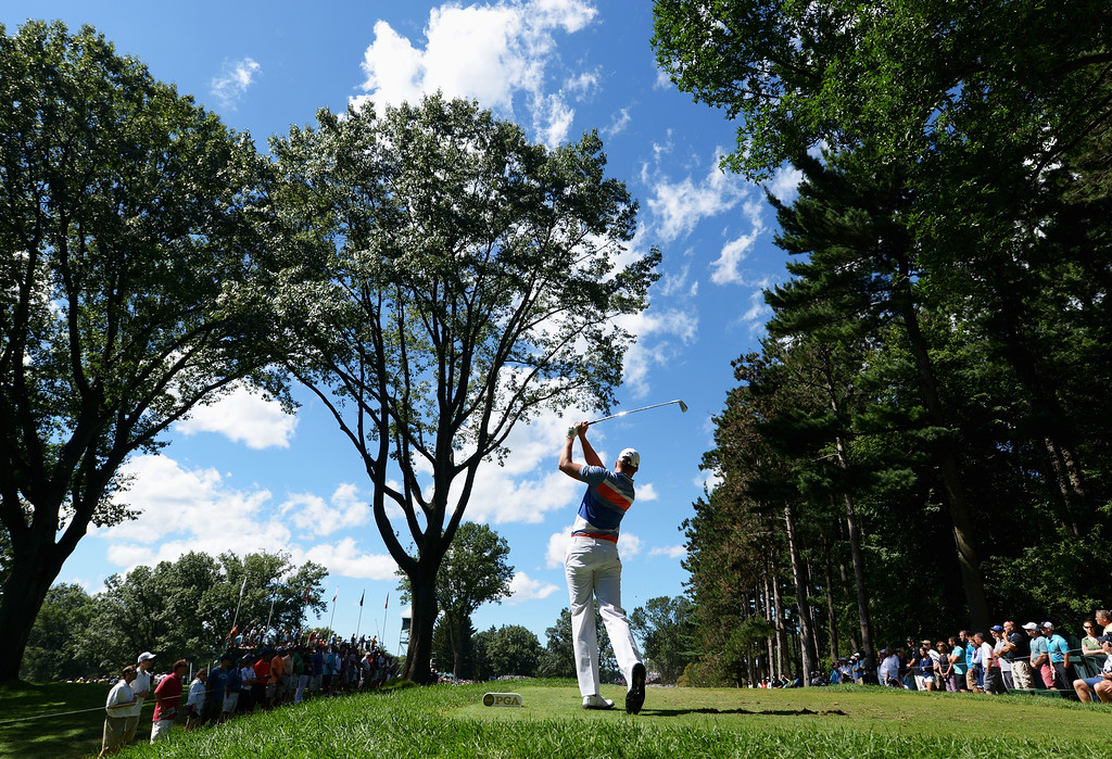 . ROCHESTER, NY - AUGUST 10:  Henrik Stenson of Sweden watches his tee shot on the third  hole during the third round of the 95th PGA Championship on August 10, 2013 in Rochester, New York.  (Photo by Stuart Franklin/Getty Images)
