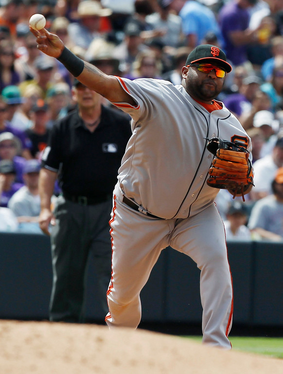 . San Francisco Giants third baseman Pablo Sandoval throws to first base to put out Colorado Rockies\' Nolan Arenado and end the fourth inning of a baseball game in Denver on Sunday, June 30, 2013.  (AP Photo/David Zalubowski)