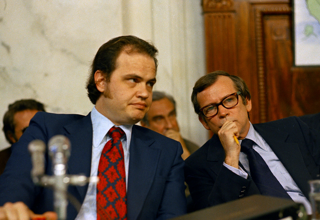 . FILE - This May 17, 1973 file photo shows Fred D. Thompson, Chief Minority Counsel of the Senate Watergate Committee, left, talking with Sen. Howard Baker, R-Tenn. during the Watergate hearings on Capitol Hill in Washington. . Baker, who asked what President Richard Nixon knew about Watergate, has died. He was 88. Baker, a Republican, served 18 years in the Senate. He earned the respect of Republicans and Democrats alike and rose to the post of majority leader. He served as White House chief of staff at the end of the Reagan administration and was U.S. ambassador to Japan during President George W. Bush\'s first term.   (AP Photo, File)