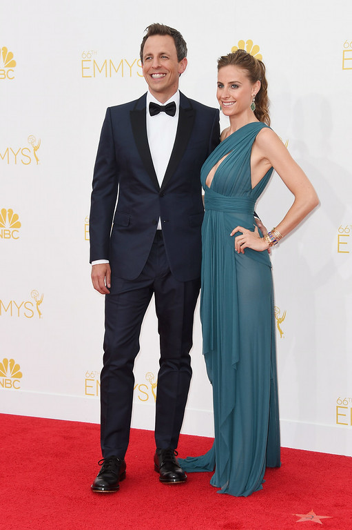 . Host Seth Meyers (L) and Alexi Ashe attend the 66th Annual Primetime Emmy Awards held at Nokia Theatre L.A. Live on August 25, 2014 in Los Angeles, California.  (Photo by Frazer Harrison/Getty Images)