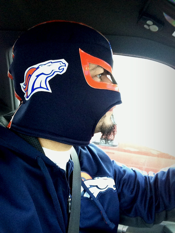 . Lucha Bronco Driving around town, showing my support.  Go BRONCOS!  Put the Ravens in a figure four leg lock!   Miguel Armenta