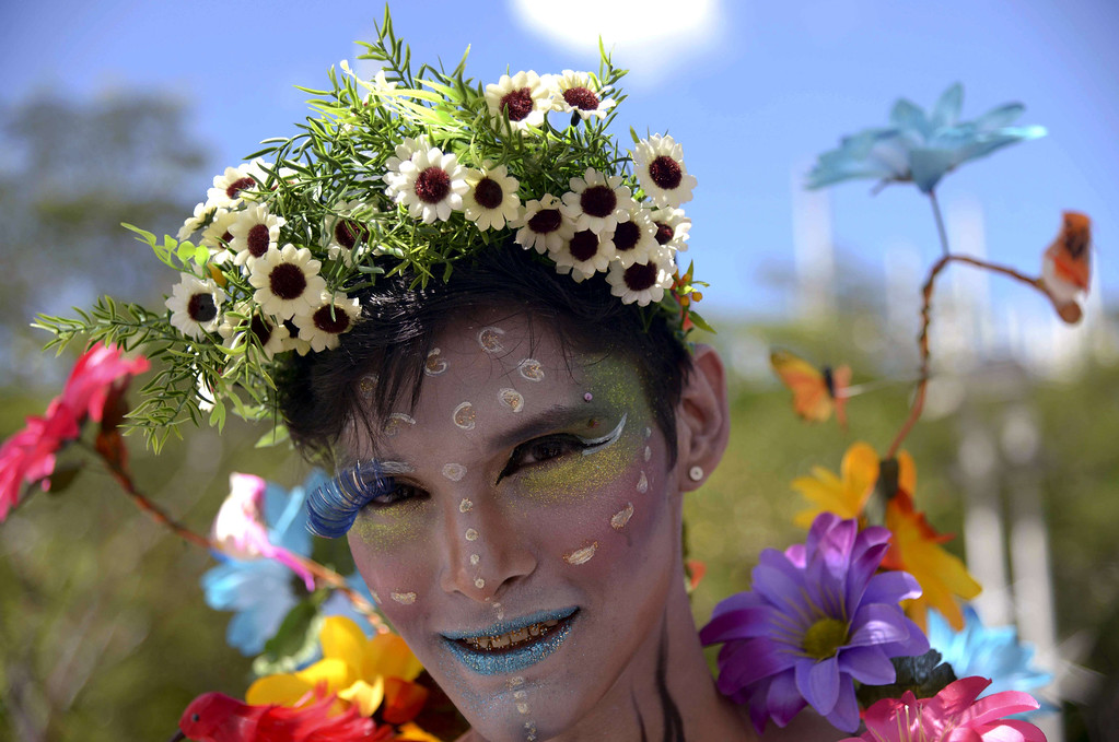 . Activists take part in the Gay Pride Parade in Medellin, Antioquia department, Colombia on June 29, 2014.   RAUL ARBOLEDA/AFP/Getty Images