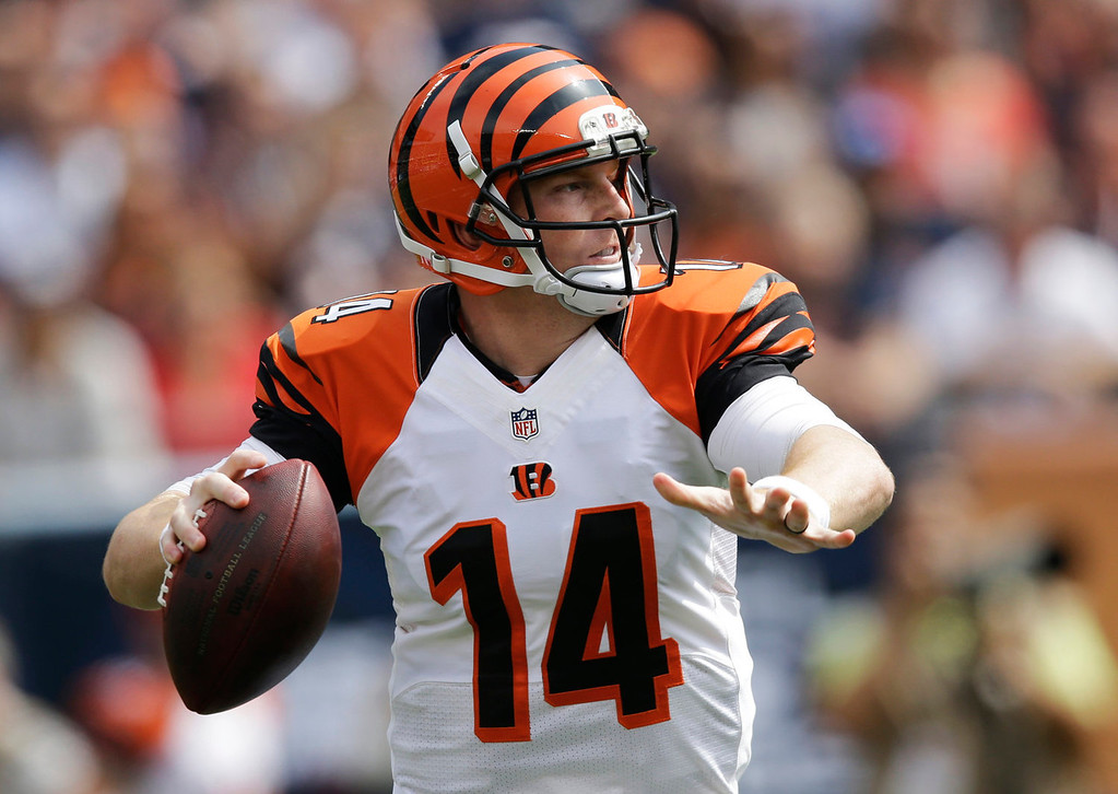 . Cincinnati Bengals quarterback Andy Dalton passes against the Chicago Bears during the first half of an NFL football game, Sunday, Sept. 8, 2013, in Chicago. (AP Photo/Nam Y. Huh)