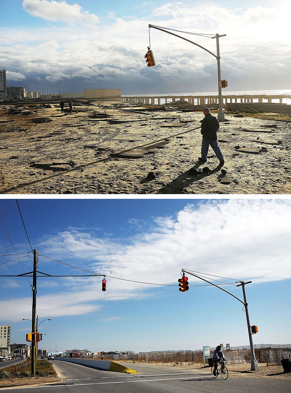 . NEW YORK, NY - OCTOBER 31: (top) A man walks by the remains of part of the historic boardwalk, after large parts of it were washed away during Hurricane Sandy on October 31, 2012 in the Rockaway neighborhood of the Queens borough of New York City.  NEW YORK, NY - OCTOBER 23:  (bottom)  A person rides a bike October 23, 2013, in the Rockaway neighborhood of the Queens borough of New York City. Hurricane Sandy made landfall on October 29, 2012 near Brigantine, New Jersey and affected 24 states from Florida to Maine and cost the country an estimated $65 billion.  (Photos by Spencer Platt/Getty Images)