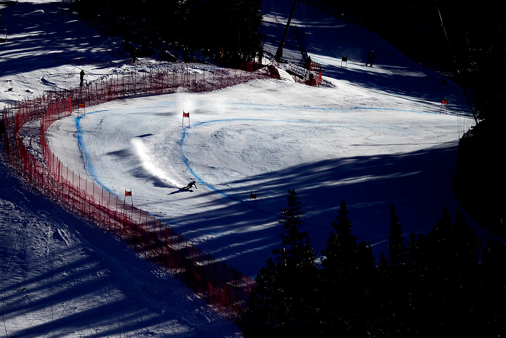 . U.S. skier Laurenne Ross works the course during her training run on Tuesday, Nov. 26, 2013.  Photo by AAron Ontiveroz/The Denver Post)