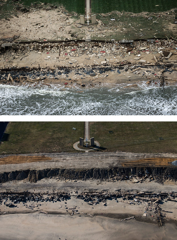 . LONG BRANCH, NJ - OCTOBER 31:  (top)   A church cross stands amid wreckage from Superstorm Sandy at the edge of the Atlantic Ocean on October 31, 2012 in Long Branch, New Jersey.  (Photo by Mario Tama/Getty Images)  LONG BRANCH, NJ - OCTOBER 21:  (bottom)  The cross is shown October 21, 2013 in Long Branch, New Jersey.   Hurricane Sandy made landfall on October 29, 2012 near Brigantine, New Jersey and affected 24 states from Florida to Maine and cost the country an estimated $65 billion.  (Photo by Andrew Burton/Getty Images)