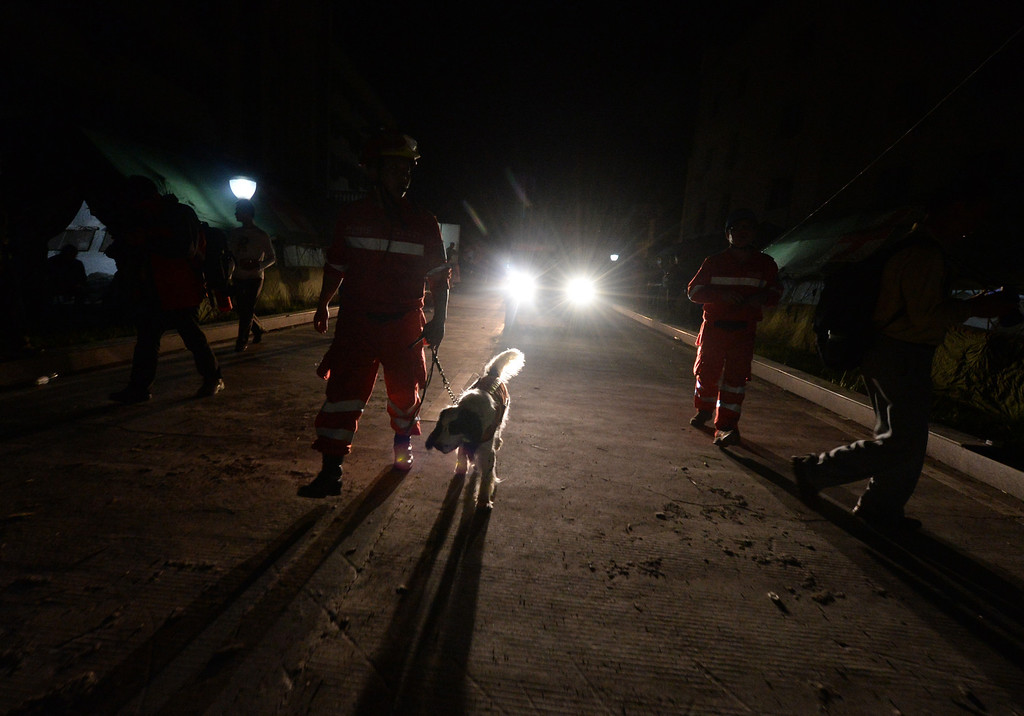 . A rescue worker walks with a sniffer dog after a magnitude 7.0 earthquake hit the city of Ya\'an, in southwest China\'s Sichuan province on April 20, 2013. More than 150 people were killed and 5,700 injured when a strong earthquake hit a mountainous part of southwestern China on April 20, destroying thousands of homes and triggering landslides in an area devastated by a major tremor in 2008. MARK RALSTON/AFP/Getty Images
