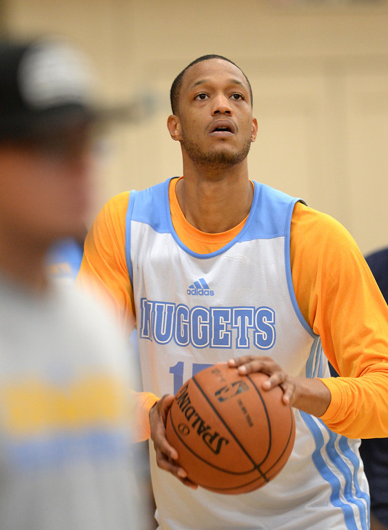 . Anthony Randolph of Denver Nuggets (15) in team practice at Pepsi Center. Denver, Colorado. October 2, 2013. (Photo by Hyoung Chang/The Denver Post)