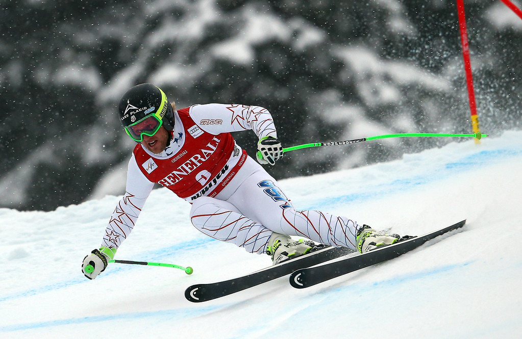 . Andrew Weibrecht, of the US, speeds down the course during an alpine ski, men\'s World Cup super-g, in Kviitfjell, Norway, Sunday, March 2, 2014. (AP Photo/Alessandro Trovati)