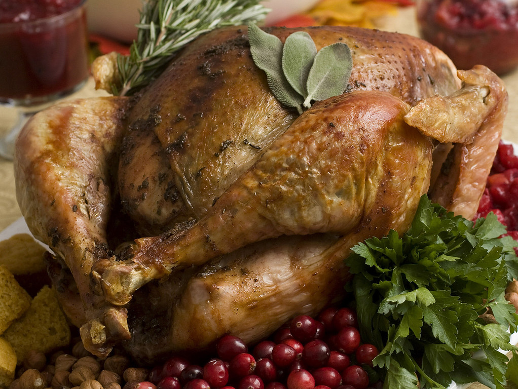 . This Nov. 2, 2009 file photo shows a Thanksgiving turkey. The average Turkey Day dinner will cost $49.04, or just 44 cents less in 2013 than it did in 2012. (AP Photo/Larry Crowe)
