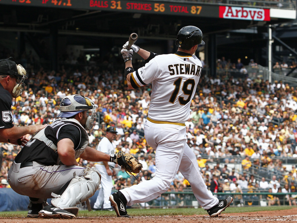 . Chris Stewart #19 of the Pittsburgh Pirates hits an RBI double in the sixth inning against the Colorado Rockies during the game at PNC Park on July 20, 2014 in Pittsburgh, Pennsylvania.  (Photo by Justin K. Aller/Getty Images)