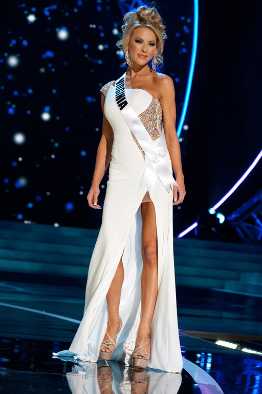 . This photo provided by the Miss Universe Organization, Miss Virginia USA 2013, Shannon McAnally competes in her evening gown during the 2013 Miss USA Competition Preliminary Show  in Las Vegas  on Wednesday June 12, 2013.  She will compete for the title of Miss USA 2013 and the coveted Miss USA Diamond Nexus Crown on June 16, 2013.  (AP Photo/Miss Universe Organization, Patrick Prather)