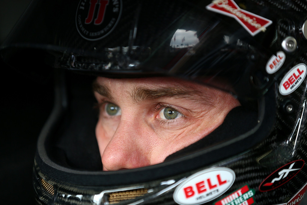 . CONCORD, NC - OCTOBER 11:  Kevin Harvick, driver of the #29 Jimmy John\'s Chevrolet, sits in his car during practice for the NASCAR Sprint Cup Series Bank of America 500 at Charlotte Motor Speedway on October 11, 2013 in Concord, North Carolina.  (Photo by Streeter Lecka/Getty Images)