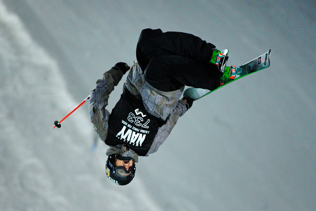 . Lyman Currier goes upside down at the men\'s ski superpipe final in Aspen at Winter X Games in Aspen, January 24, 2014. (Photo By Mahala Gaylord/The Denver Post)