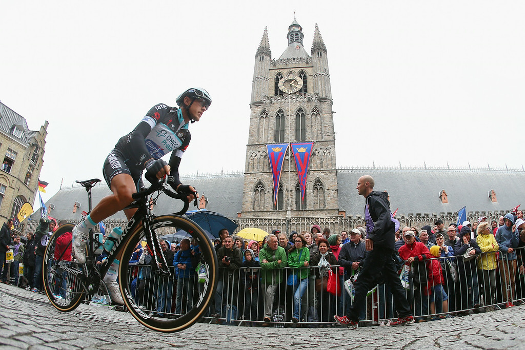 . Matteo Trentin of Italy and Team Omega Pharma Quick-Step makes his way to the start of the fifth stage of the 2014 Tour de France, a 155km stage between Ypres and Arenberg Porte du Hainaut, on July 9, 2014 in Ypres, Belgium.  (Photo by Bryn Lennon/Getty Images)